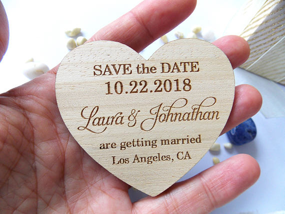 Customized Heart Rustic Wedding Wooden Save The Date Fridge Magnets Bridal Shower Party Favors Company Gifts Invitations Inserts In From Home