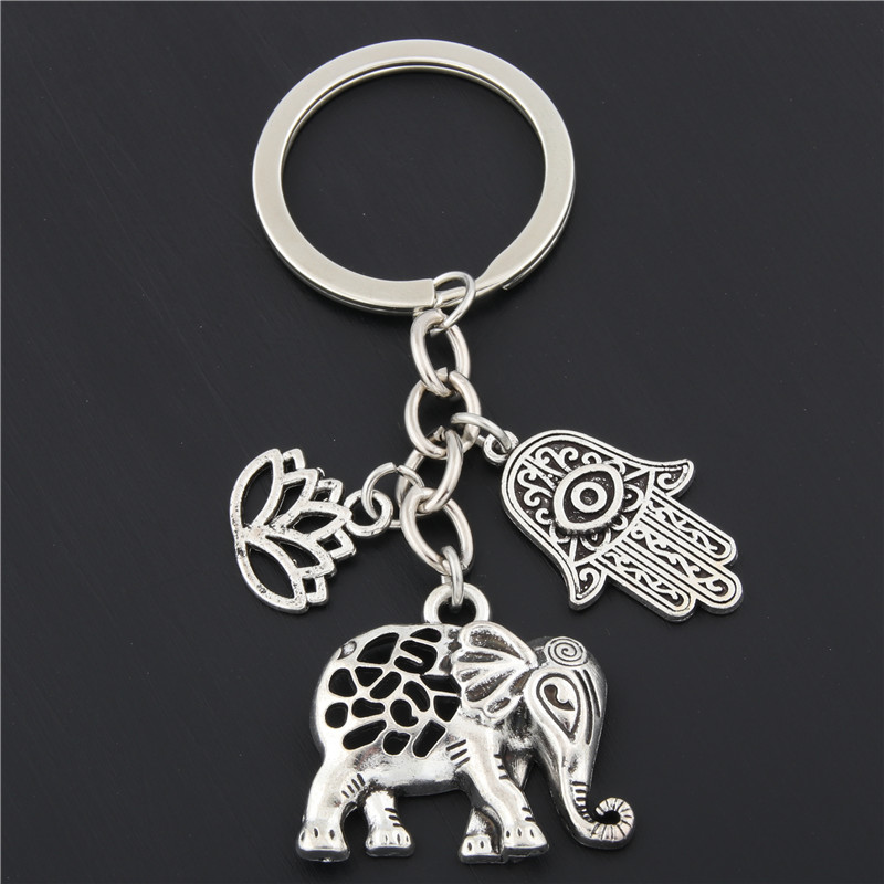1pc Tribal Ethnic Keychains Unique Bohemia Gift Key Holder Lotus Jewelry Hand Elephant Car Keychain For Women E1685