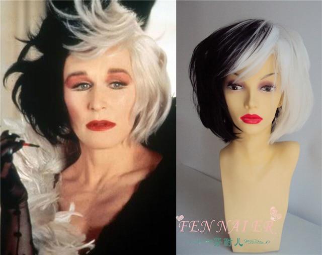 Cruella de Vil Cosplay Wig Half Black Half White Fluffy Layed Heat Resistant Synthetic Hair Cosplay Costume Wigs + Wig Cap