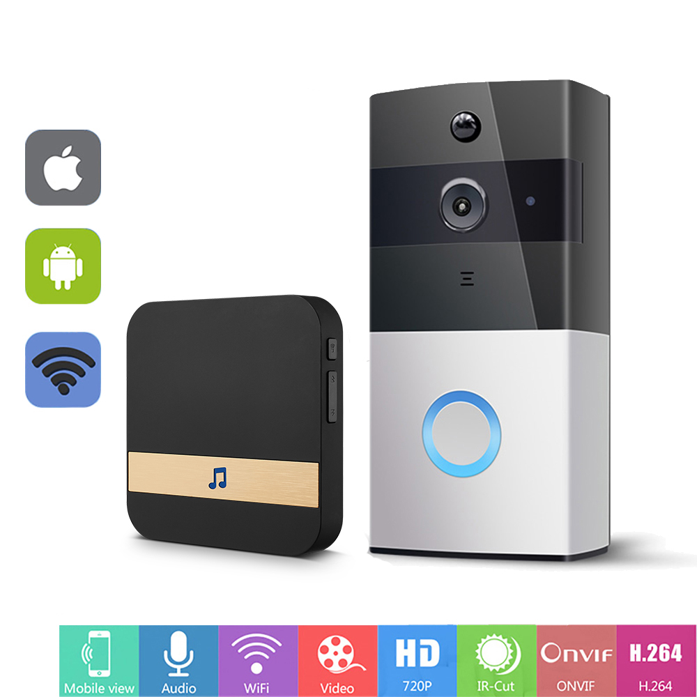 WIFI Doorbell Intercom Wireless Video Door Phone 720P Door Bell Camera Battery Power Two Way Audio PIR Alarm Smart Door Intercom d114b smart home 1v2 wireless intercom one to two video door phone 2 4g digital pir detection video door peephole camera