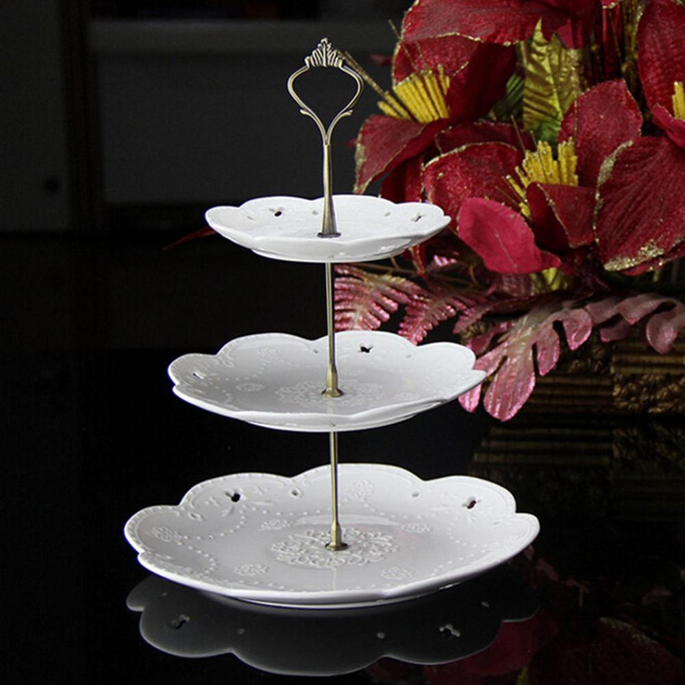 Новинка, 6 цветов, 2 или 3 яруса для торта, пластина, подставка, ручка, корона, металлическая, для свадебной вечеринки, серебро, золото, быстрая - Цвет: 3 tie Bronze