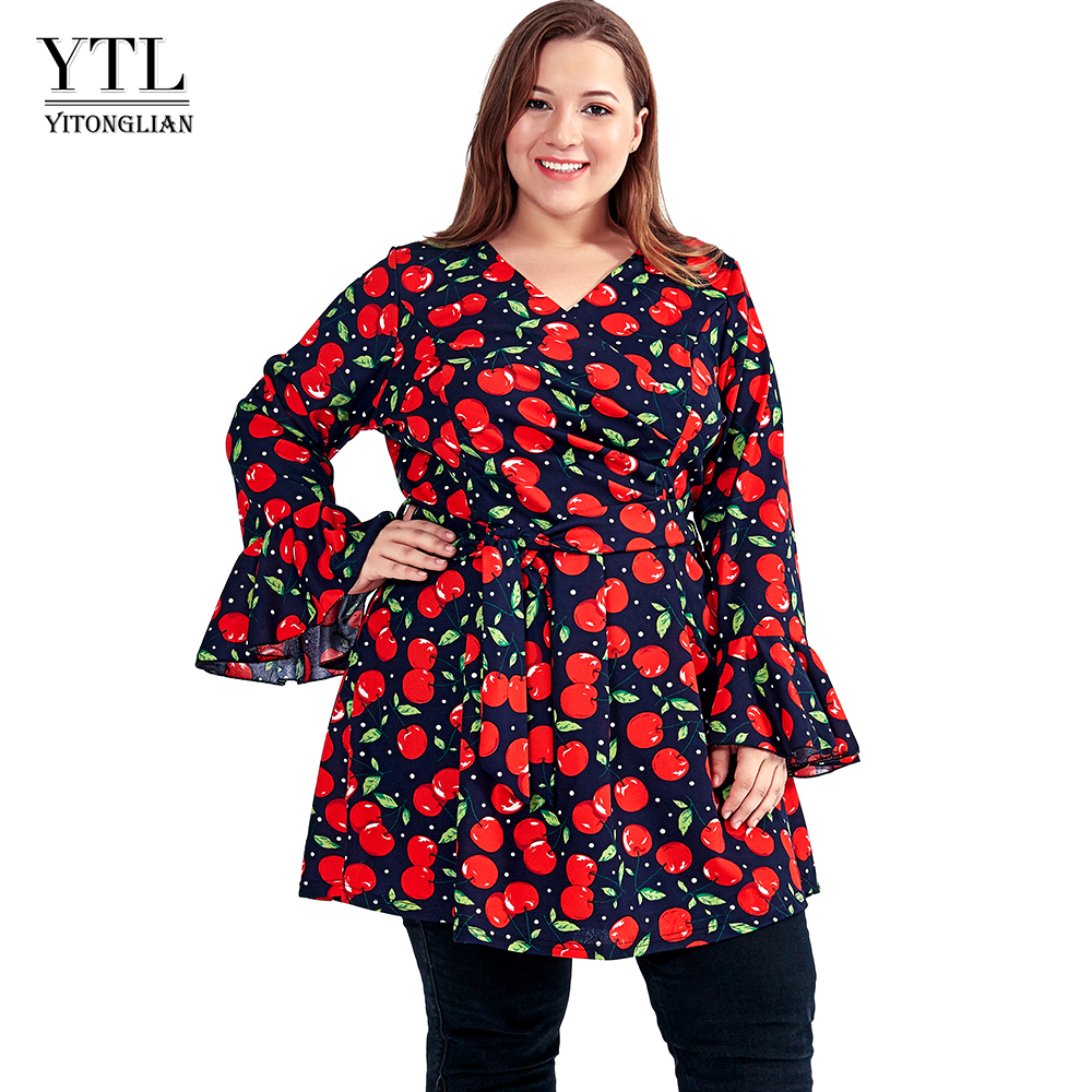 YTL Large <font><b>Size</b></font> 6XL 7XL <font><b>8XL</b></font> Women <font><b>Dress</b></font> Elegant Cherry Print Long Sleeve Tunic Party <font><b>Dress</b></font> <font><b>Plus</b></font> <font><b>Size</b></font> <font><b>Dress</b></font> for Women 4XL 5XL H113 image