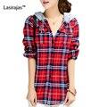 Mulheres hoodies 2016 primavera outono casual algodão zip-up vermelho longo-luva moda xadrez moletom com capuz mulheres clothing feminino