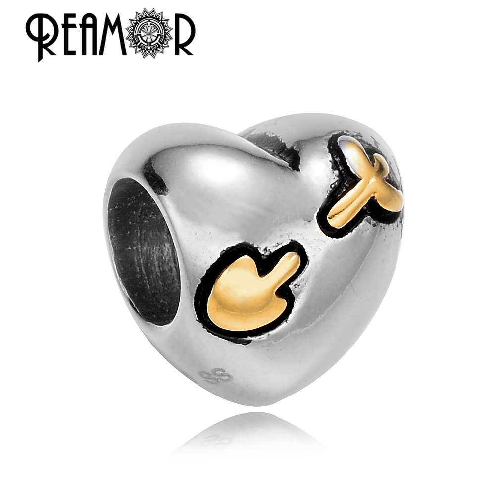 REAMOR High Polished 316l Stainless Steel Gold-color European Heart Large Hole Beads Charms Fit DIY Bracelet Jewelry Wholesale