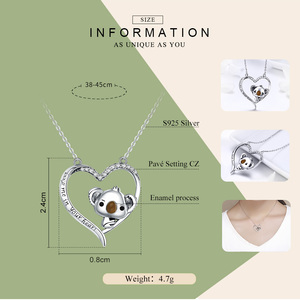 Image 2 - BAMOER High Quality Real 925 Sterling Silver Lovely Koala in Heart Pendant Necklaces for Women Sterling Silver Jewelry SCN256