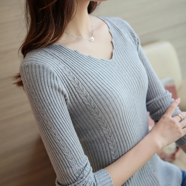 DisappeaRanceLove Марка 2017 V-Образным Вырезом женщин свитер пуловер рубашка женский витой длинным рукавом свитера осенью и зимой свитер