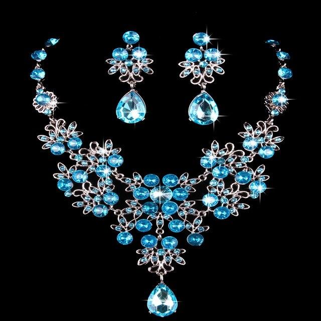 KMVEXO אופנה קריסטל ריינסטון הודי שרשרת עגילי תכשיטי סטים לנשים כלות כלה מסיבת חתונת תלבושות תכשיטים