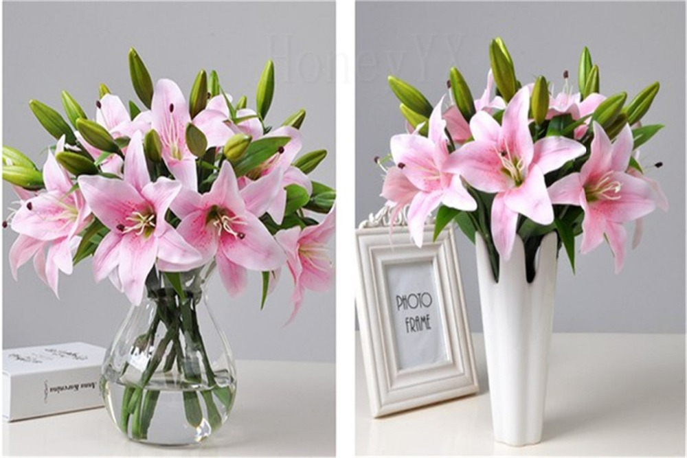 Lily flower arrangements artificial white yellow pink fake flower lily flower arrangements artificial white yellow pink fake flower bouquet home party wedding decorative flowers in artificial dried flowers from home mightylinksfo