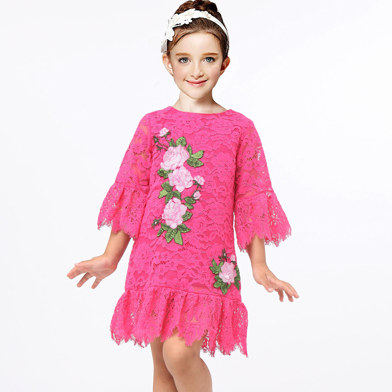 Girls Princess Dress Lace Costumes for Kids Clothes Brand Toddler Girl Dresses with Flower Embroidery Robe Fille Children Dress fashion girls dresses summer brand princess dress girl clothes floral print robe fille enfant kids dresses child costumes ld 015