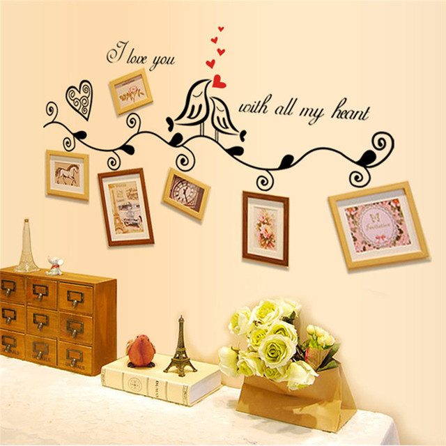 Creative Photo Frame Wall Decals Weddding rome decoration PVC Wall ...