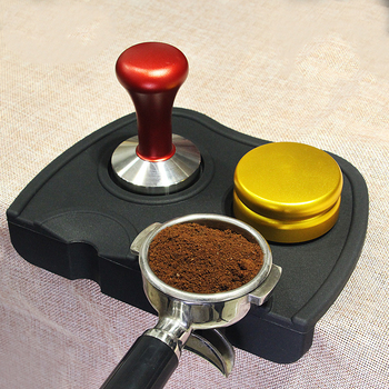 Mata do kawy z karbowanym silikonem antypoślizgowa mata do Espresso sabotaż mata sabotażowa mata z obniżoną krawędzią narożnik mata Pad narzędzie tanie i dobre opinie BAYCHEER Silikonowe Flat LB4148 coffee powder pad Coffee Tampers Mat Coffee Tools