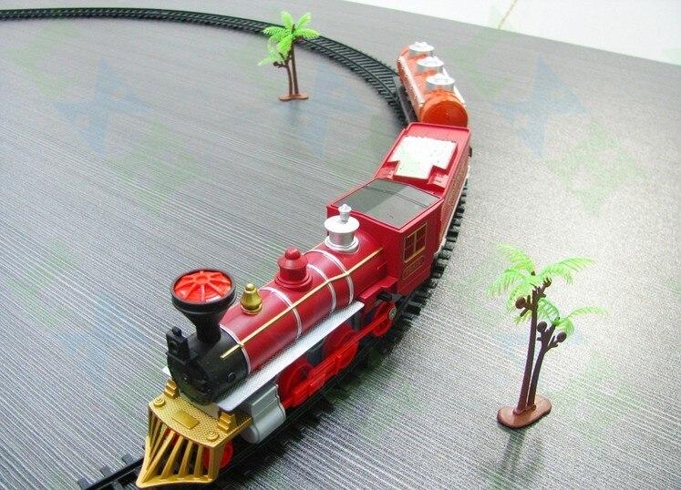 2017 hot kids toys clásicos enlighten tren ferroviario eléctrico vía del tren mo