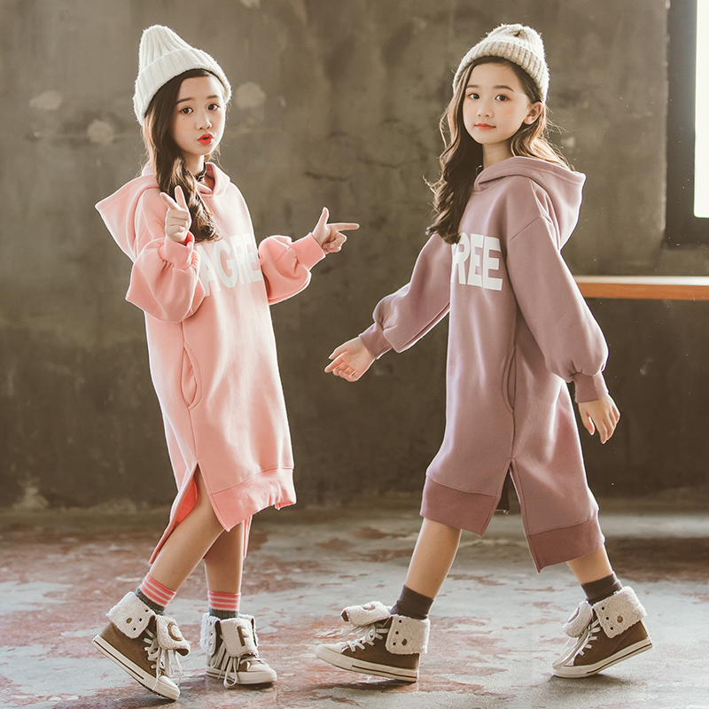 Kids Girls Fleece Dress Fall Winter 2019 Big Girls Long Sleeve Thick Hoodie Dresses Casual Girls Hooded Long Coat Girls Clothes girl
