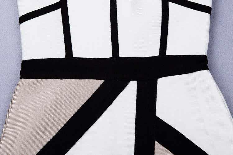 ブラックホワイトカーキステッチ包帯セクシーな深い膝ノースリーブドレスカクテルパーティードレス卸売と小売hl