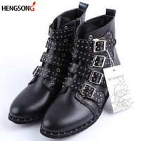 2017 Fashion Studded Ankle Boots Women Winter PU Leather Shoes High Top Flat Martin Boots Female