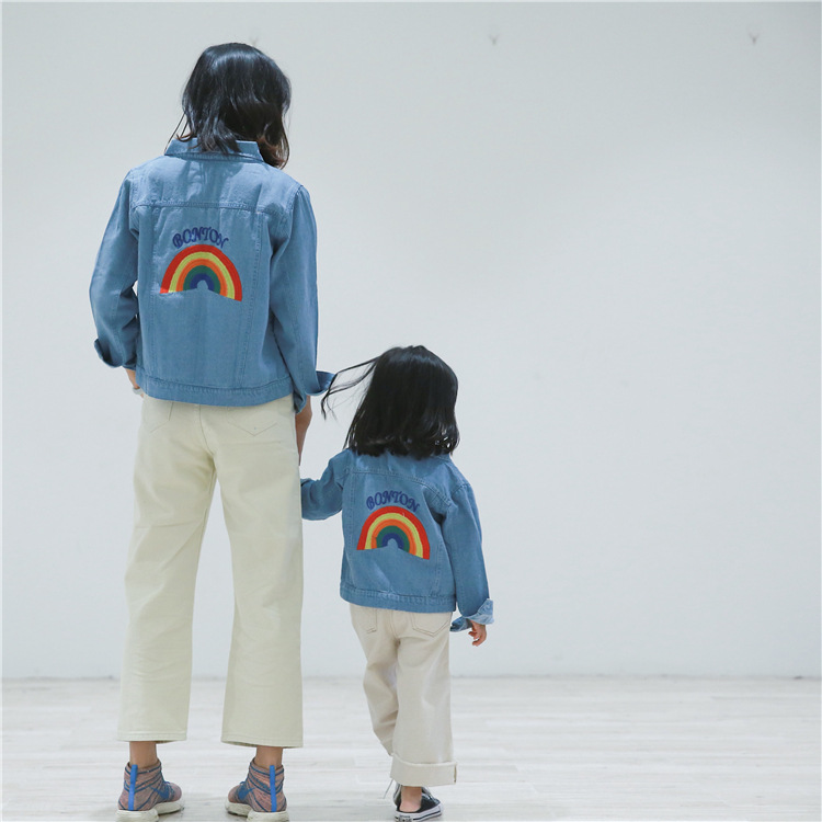 2019 PPXX Patchwork Rainbow Girl Women Danim Jacket Jean Coat Mother Daughter Clothing Family Matching outfits Winter Autumn