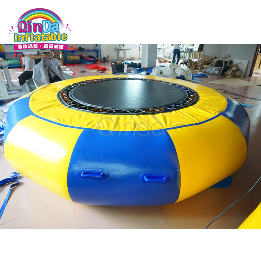 Hot Sale Inflatable Water Park Equipment, 3M Inflatable Air Bouncer Water Trampoline with Air Pump lake or ocean inflatable funny water sports game water trampoline with air pump and repair kit