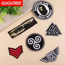 GUGUTREE embroidery army patches rank 66 badges applique for clothing YX-262