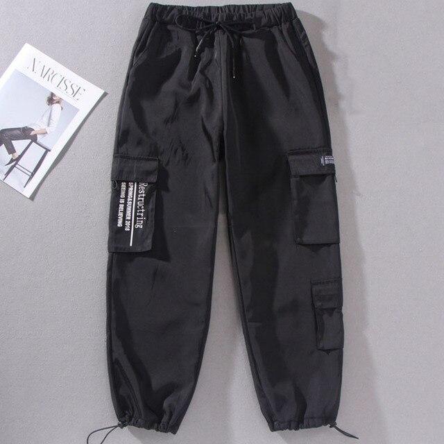 Ropa De Calle De Primavera 2020 Cargo Para Mujer Pantalones Holgados De Hip Hop Pantalones Harajuku Bf De Primavera Con Gran Bolsillo Pantalones De Cintura Alta Para Mujer
