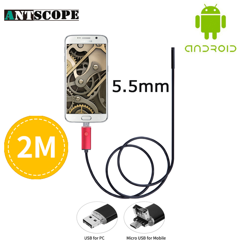 Red 5.5mm Lens 2M USB Endoscope Camera OTG Waterproof Camera 2In1 PC Android 6 LED Mini USB Android Phone Borescope Camera 2018 newest 4 9mm lens medical endoscope camera for otg android phone pc usb borescope inspection otoscope camera for ear nose