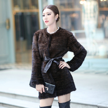 Autumn Winter Women's Genuine Natural Real Knitted Mink Fur Coats Lady Warm Outerwear Adjustable Belt VF0109