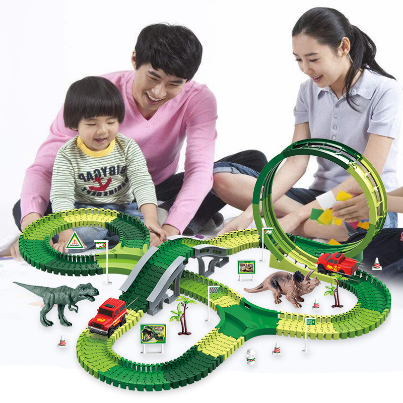 DIY Electric Rail Car Children Track Electric Train Toy Roller Coaster Assembling Building Blocks Changeable Dinosaur Track Toy