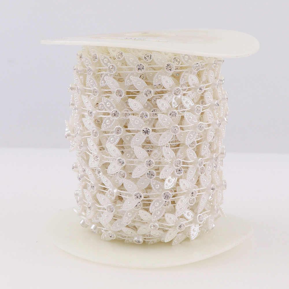 1 rollo Flatback media perla redonda clara de cadena de diamantes de imitación de plástico ABS cuadrado de abalorios nupciales con pedrería corte de prendas de vestir de cadena de la perla