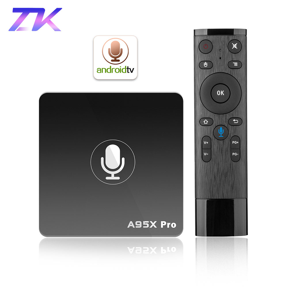 Google TV Box A95X Pro 2G 16G Intelligent Android 7.1 TV Box contrôle vocal Amlogic S905W WiFi LAN lecteur multimédia PK X96mini X96 mini