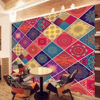 Free Shopping Romantic Colorful Pattern Background Wall Wallpaper Living Room Restaurant Bedroom Custom Mural