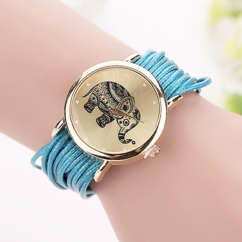 Women Leather Bracelet Fashion Casual Elephant Wrist Watches 1