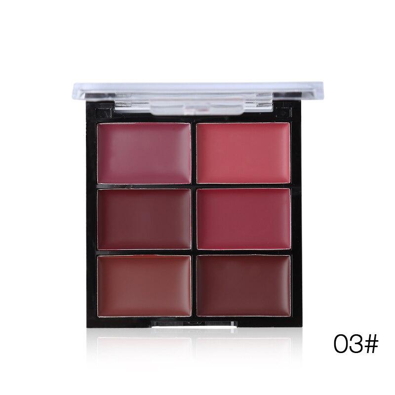 Women Beauty Makeup 6 Colors Matte Lipstick Palette Waterproof Nude Lip Stick Cream Moisturizer Sexy Batom Long-lasting Cosmetic 8