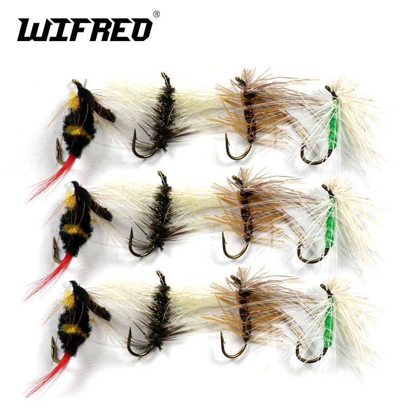 12 Mixed Fly Flies Lures Trout//Grayling Fly Fishing Flies Wet Dry Nymph Buzzers