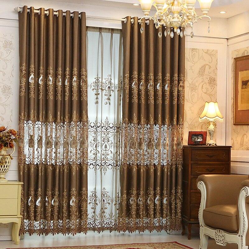 Cortinas y tul envío gratis! De gama alta, alambres de oro, bordado, - Textiles para el hogar