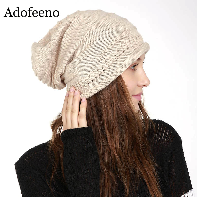 2017 Skullies Beanies Winter Hat For Women Warm Hat Fashion Knitting Cap Crochet Bonnet Wool Hat Leisure Fashion skullies
