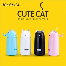 Hoomall Cartoon Thermos Mug Cute Cat Shaped Vacuum Flask Cup Stainless Steel Thermos Water Bottle Thermal Tumbler Coffee Mugs