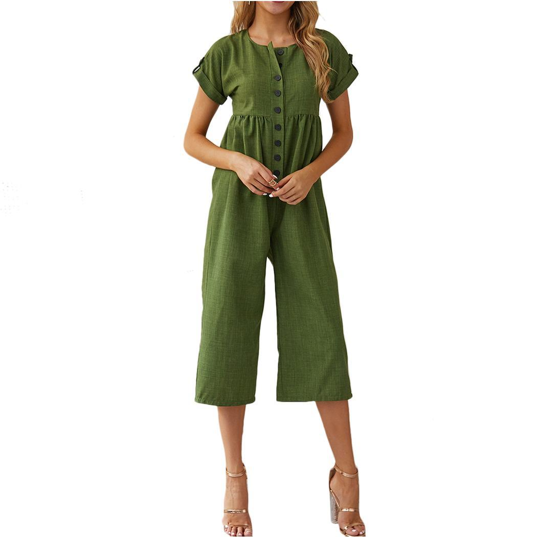 New Fashion Women Casual O-neck Button Solid Legs, Regular fit Wide Legs Short Sleeve Calf Length Jumpsuit(China)