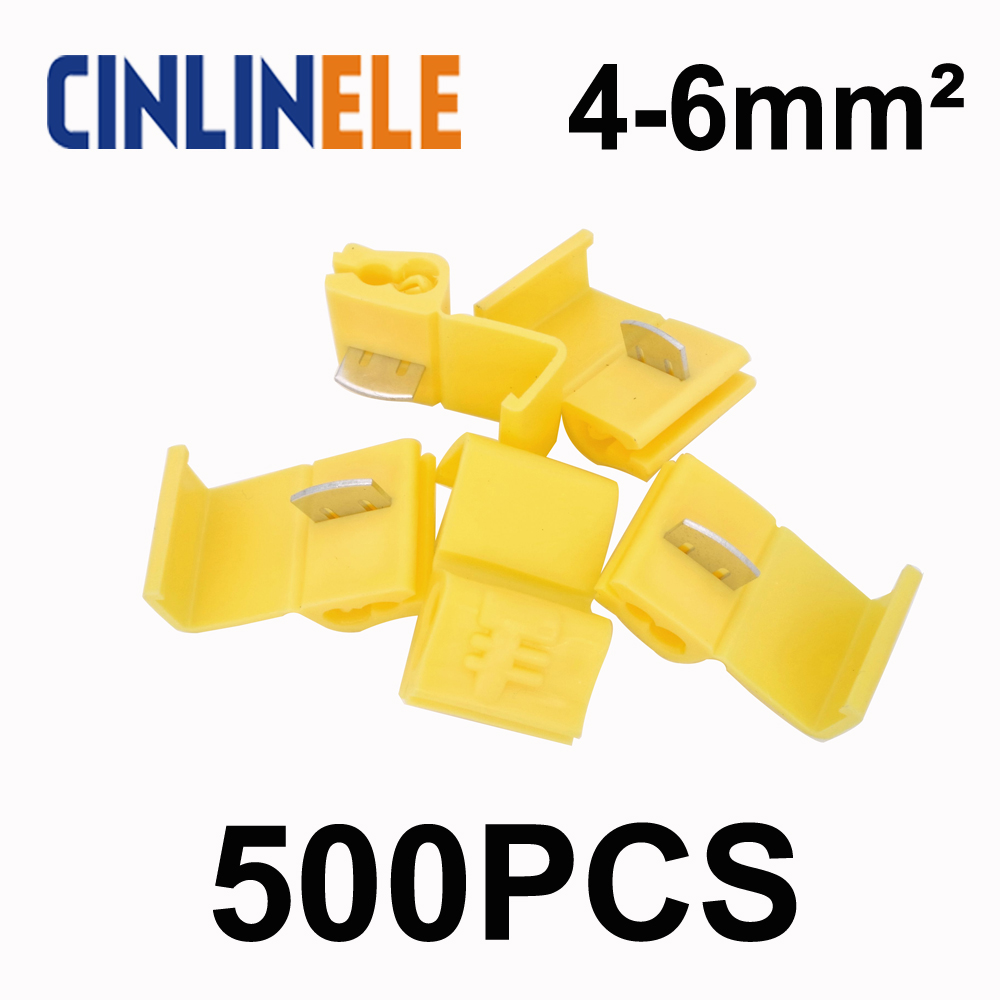 500pcs/lot 805P3 Yellow Scotch Lock Quick Splice Wire Connector 12-10 AWG Hard Soft 4-6mm^2 Crimp Terminal 5pcs t shape 2 pin scotch lock quick splice wire wiring connector for 22 18awg led strip wire car audio cable terminals crimp