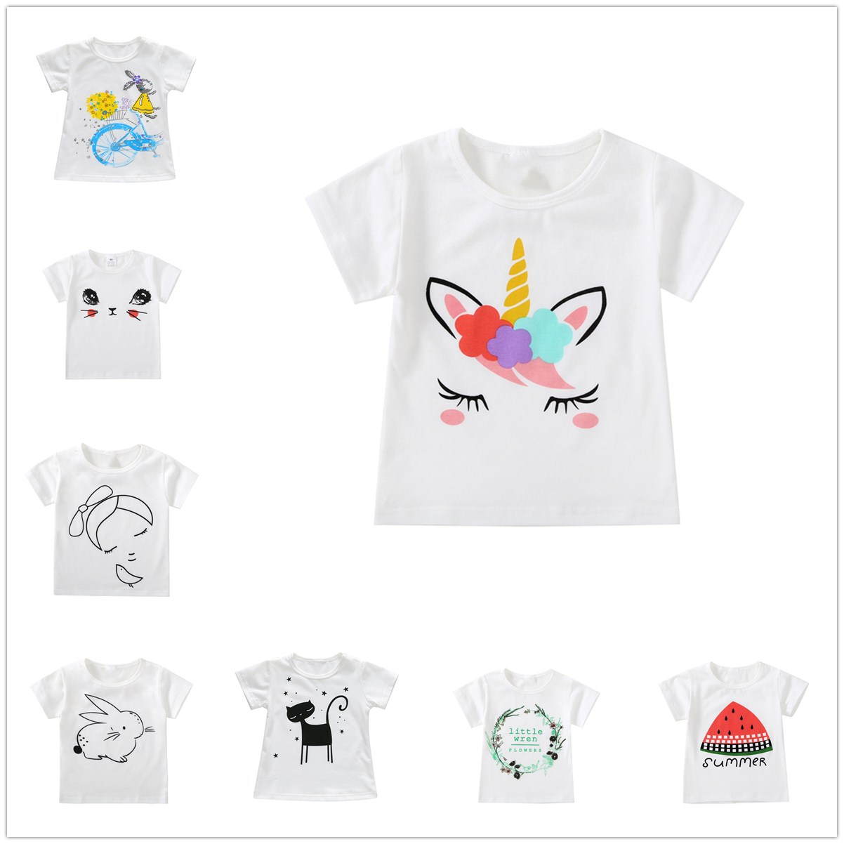 2-7Y Kids Girls Tops Baby Boy T Shirts Summer Clothes Children Cotton Top White T-shirt Cartoon Unicorn Clothes Toddler Clothing 2 7y kids boy girl flag pocket casual long sleeve t shirt tops red white
