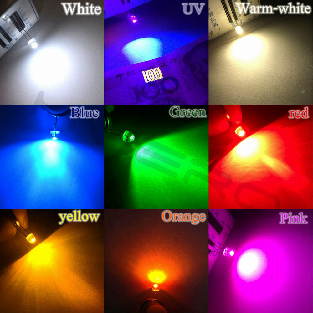 500Pcs F5 5mm Straw Hat Water Clear Diode Ultra Bright White Blue Green Yellow Red Wide Angle Super Bright Wide Angle bulb