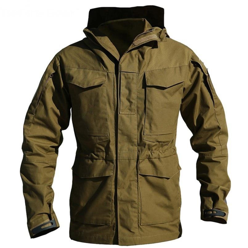 M65 Tactical Waterproof Windbreaker Hiking Camping Jackets Outdoor Hoodie Sports Coat Men High Quality Multi-pocket Jackets