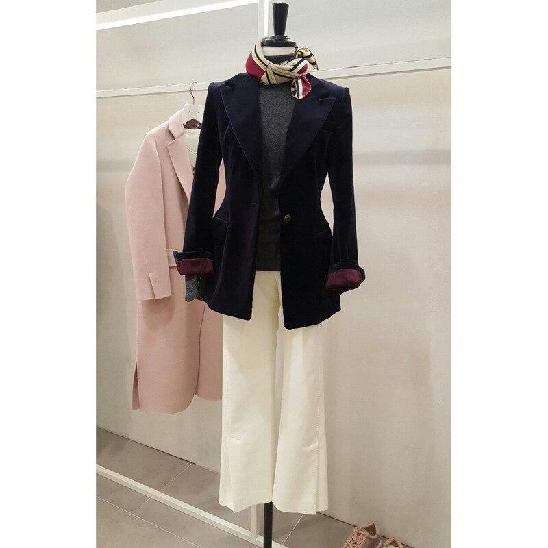 Golden Velvet Mini Suit Jacket Women Spring 2019 New Slim Waist Long Mini Suit Jacket Trend Women Blazers And Jackets Suit Coat
