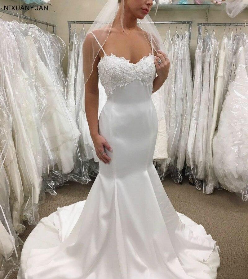 2019 Glossy Mermaid Wedding Dress Spaghetti Lace Backless