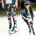 Flower Printed Girl's Pants 2017 New Arrival Fashion Design Pants for children trendy winter pants for girl kids clothing
