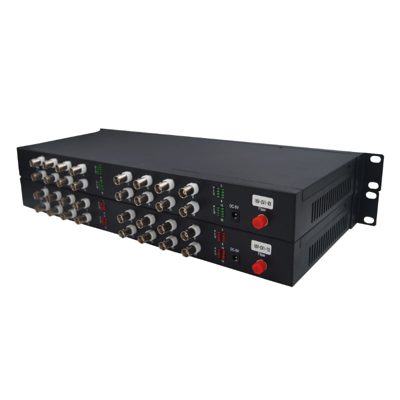 Rack Mounted 1080P HD AHD CVI TVI Fiber optical video converter, 16 Channel Video Optical Conveter Single Mode Simplex 10KM