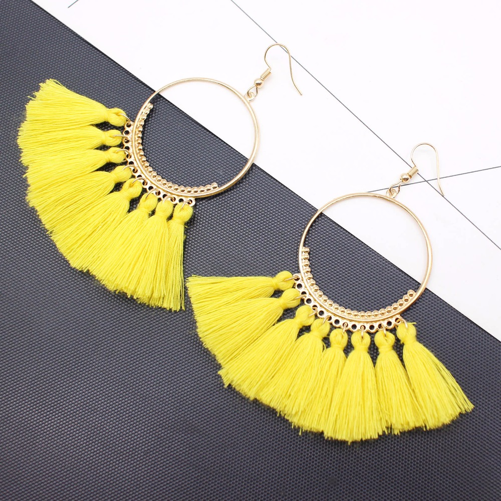 19 Colors round dangling pendant Drop earrings woman fabric tassel earring ethnic bohemian fantasy fringed boucles d'oreille 5