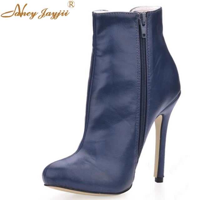 2ee1605cec14 Fashion Dark Blue Pleather Women Pointed Toe Ankle Boots Women High Heels  Shoes