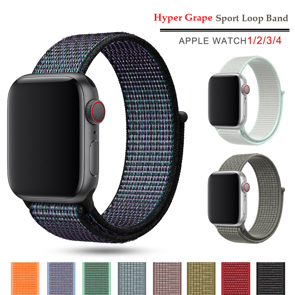New Nylon Sport Loop Band For Apple Watch Series 5 4 3 44mm 40mm Watchstrap Bracelet Band For Iwatch 4 44mm 42mm 38mm 3 2 Hyper