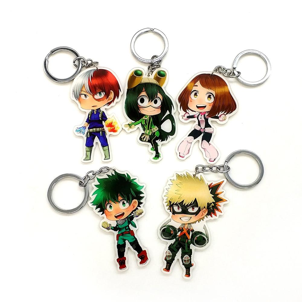 Love Thank You My Hero Academia Himiko 6 styles key chain ring pendant toy gift anime Boku no Hiro Izuku Bakugo Tsuyu Asui