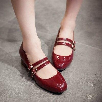 Chaussures pour femmes sont super confortables, carré et rétro carré, double fermoir, chaussures Mary Jane style doux