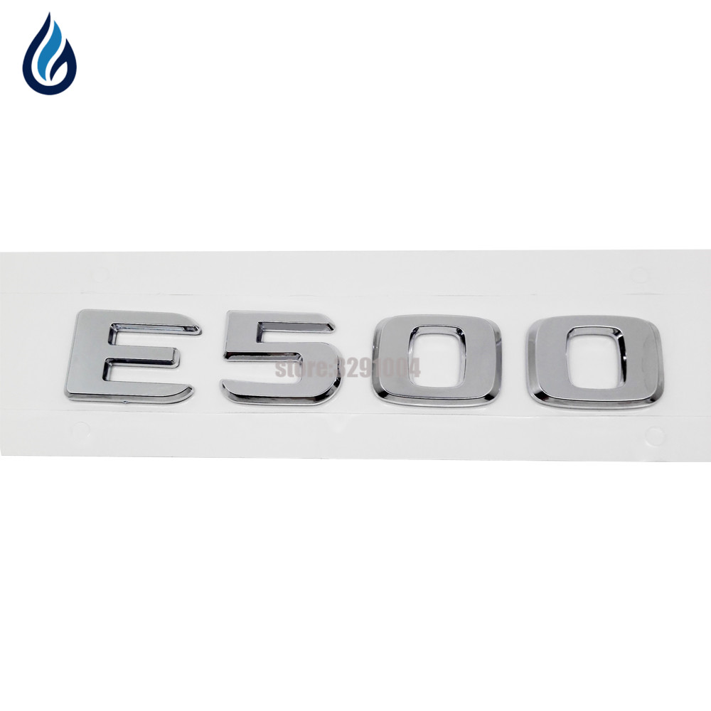 Car Rear Trunk Chrome Emblem Badge Stickers for Mercedes Benz E Class W204 W203 W211 W210 W212 W205 W207 E500 Sliver